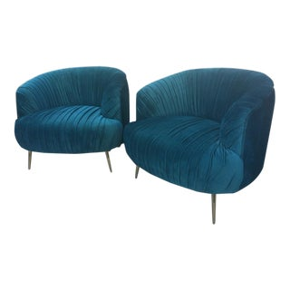 Glam Teal Velvet Club Chairs - A Pair