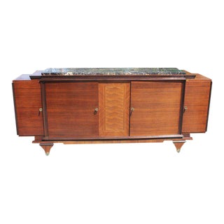 1930s Vintage French Art Deco Marble Top & Rosewood Sideboard/Buffet