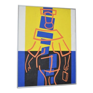 1977 Vintage Original Modernist Geometric Abstract Painting by Sidney Budnick