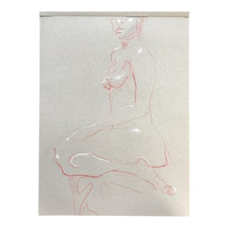 Seated Nude Red and White Drawing