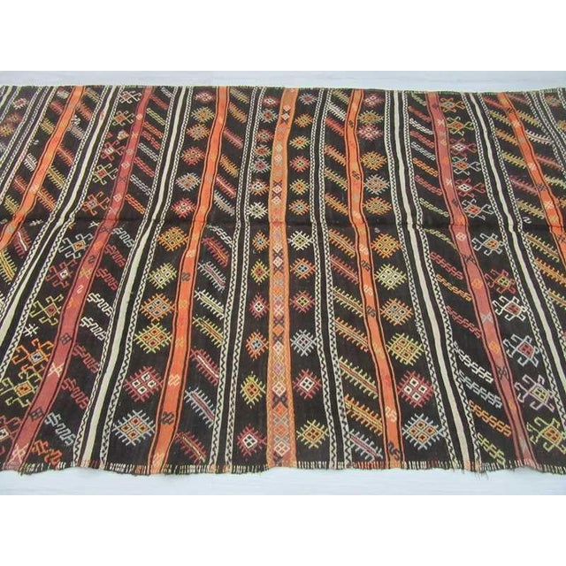 Vintage Turkish Embroidered Goat Hair Kilim Rug
