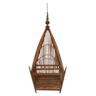 Hanging Wooden Pagoda Birdcage