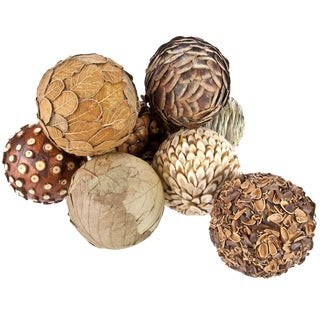 Natural Decorative Balls - Set of 8