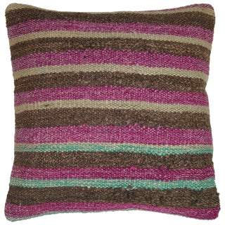 Rug and Relic Brown Stripe Kilim Pillow