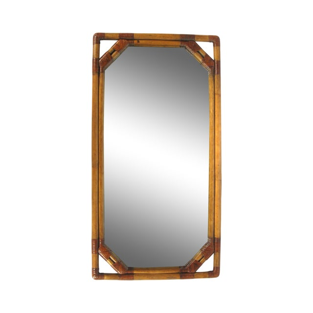 Image of Vintage Drexel Heritage Bamboo & Leather Mirror