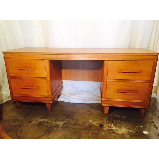 Art Deco Solid Light Oak Desk - Image 2 of 6