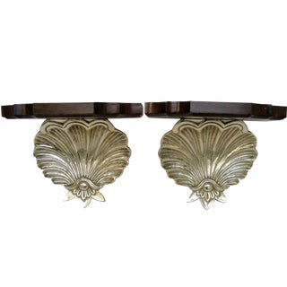 Brass & Wood Shell Shaped Wall Brackets - A Pair