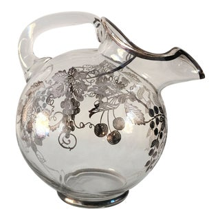 Vintage Sterling Silver Overlay Glass Pitcher