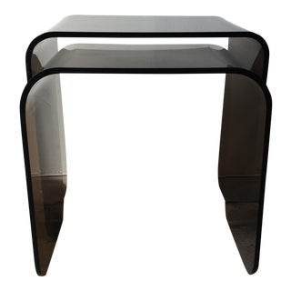 Mid-Century Smoked Lucite Nesting Tables - Pair