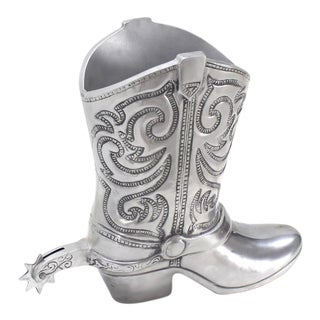 Large Cast Metal Western Boot Vase Planter Towle Silver