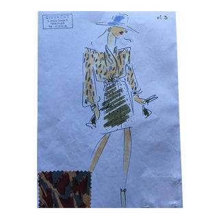 Givenchy Printed Blouse and Skirt Croquis Fashion Sketch