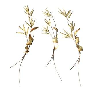 Hollywood Regency Gold Wheat Sheaf Wall Art - Set of 3