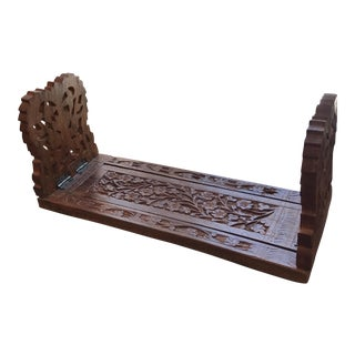 Indian Wooden Flower Motives Bookends - A Pair
