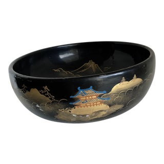 Vintage Black Asian Chinoiserie Pagoda Bowl