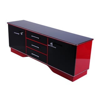 Art Deco Black & Red Lacquer Commode