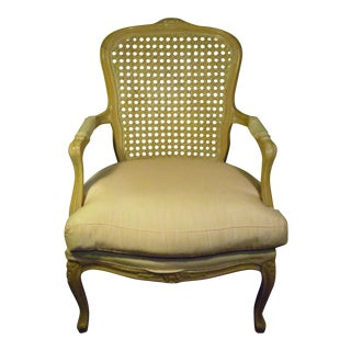 Chateau d'Ax Spa Italy Louis XVI Style Pink Upholstered Cane Back Armchair
