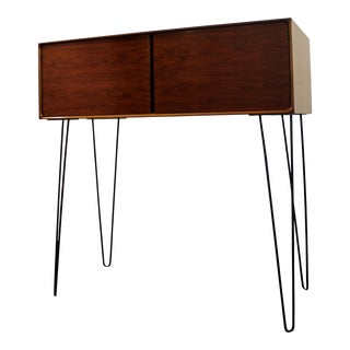 Mid-Century Danish Modern Walnut Cabinet/Bookcase/Credenza on Hairpin Legs