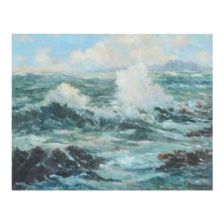 """1940's """"California Surf"""" Seascape Painting"""