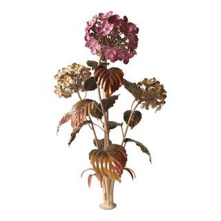Vintage Italian Tole Hydrangea Chandelier/Lamp