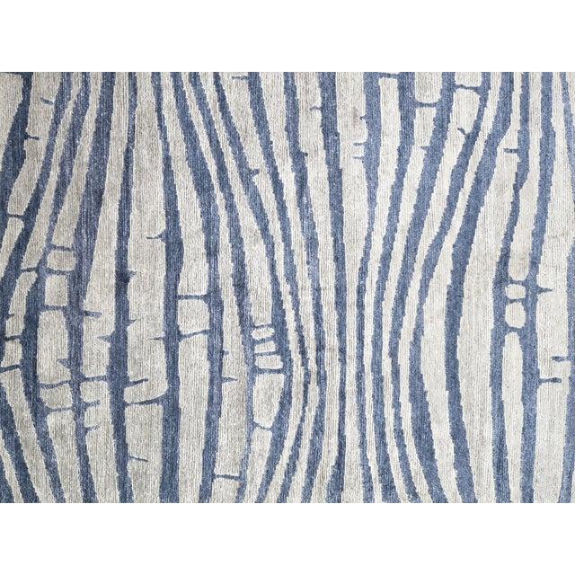 "Modern Silk Rug: Modern Blue Bamboo Silk Area Rug - 8'10"" X 11'8"""