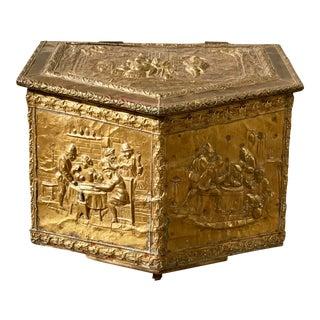 Italian Brass Repouse Firewood Box