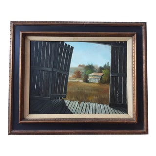 Vintage Barn Landscape Painting Signed by Drago