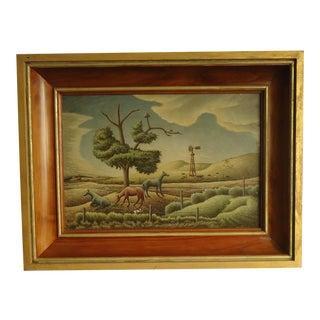 1952 Aaron Pyle Landscape With Horses Regionalist Painting