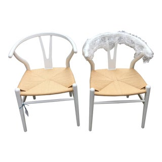 EdgeMOD Wishbone Weave White Arm Chairs - A Pair