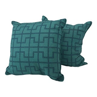 Irene Teal Geometric Print Pillows - A Pair