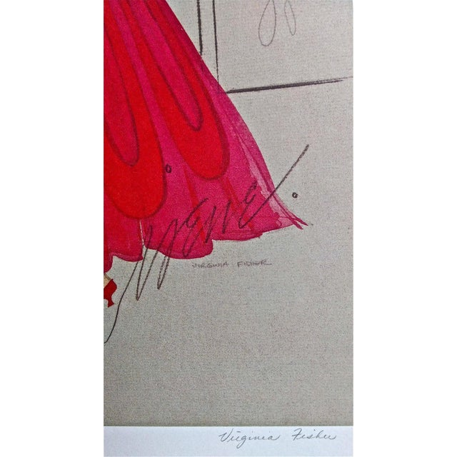 Irene & Virginia Fisher Red Evening Lithograph - Image 5 of 8