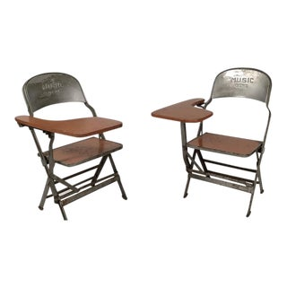 Pair of Music Department Folding Chairs with Desk Arms