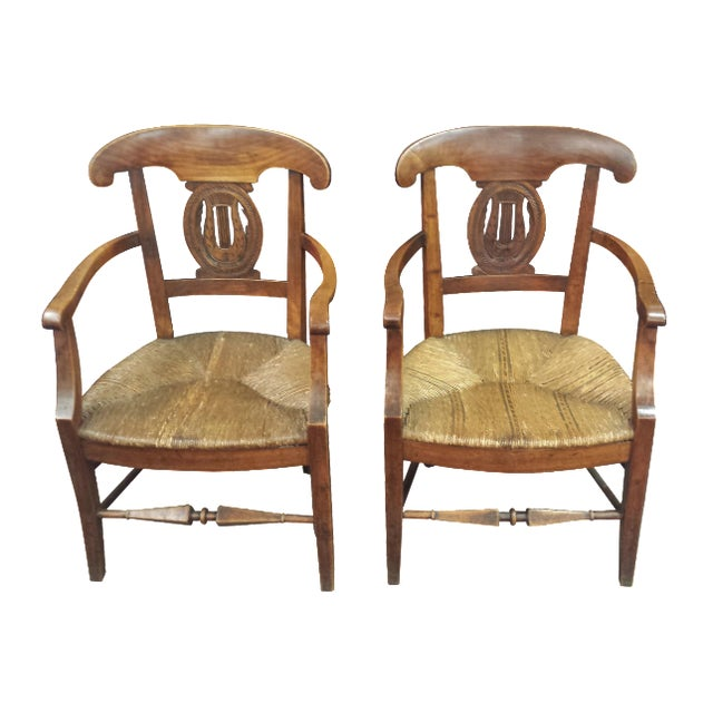 Antique French Lyre Back Armchairs - A Pair - Image 1 of 11