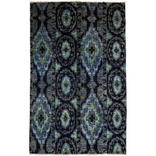 "Ikat, Hand Knotted Area Rug - 5' 10"" X 9' 5"""