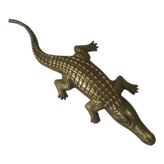 Large Brass Alligator