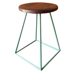 Walnut & Sage-Painted Steel Stool