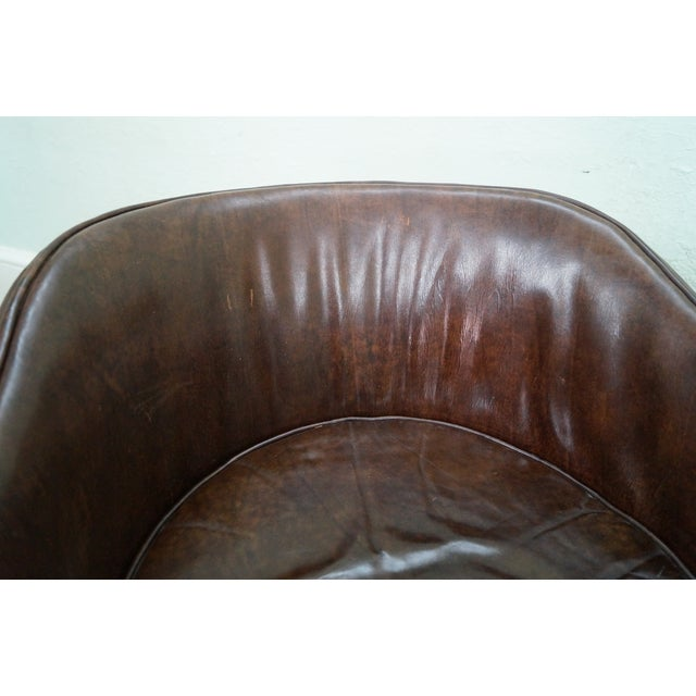 Widdicomb Small Barrel Back Leather Club Chair - Image 7 of 10