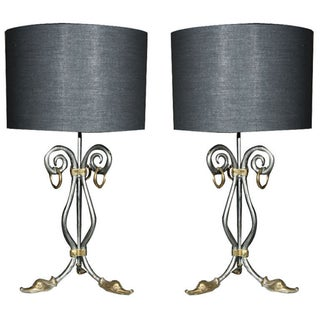 1970's Steel Table Lamps - A Pair