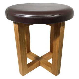 1940s Leather & Wood Work Stool