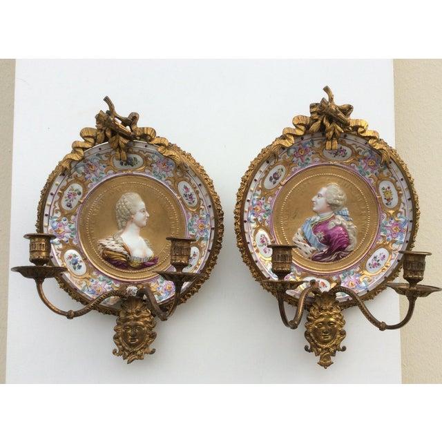 Porcelain & Bronze Royal Portrait Sconces - A Pair - Image 2 of 11