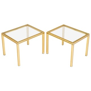Vintage Pierre Vandel Brass Side Tables - A Pair