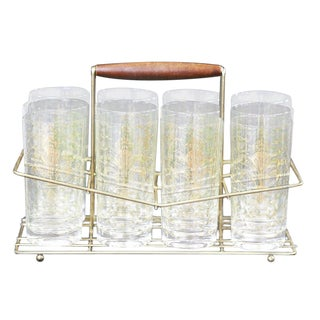Mid-Century Gold Highball Glasses and Caddy Set