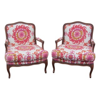 Pair of Open Arm Bergere Chairs by Fremarc