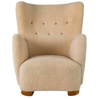 Scandinavian Sheepskin Lounge Chair