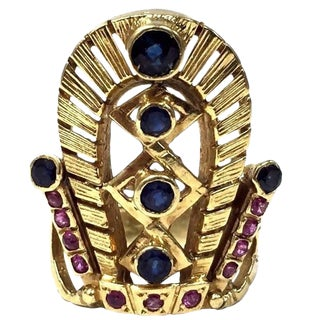 18kt Gold Blue Sapphire and Ruby Egyptian Headdress Crown Ring