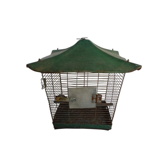 Antique Large Green Asian Inspired Birdcage - Image 1 of 8