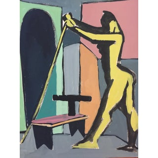 1940-1950's Gouache of Figure Holding Stick
