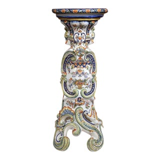 19th Century French Hand-Painted Rouen Faience Pedestal Table