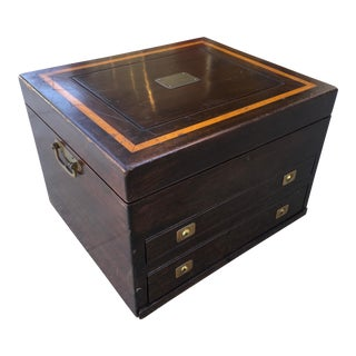 Walnut & Mahogany Flatware Box by Reed & Barton