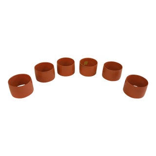 Mid-Century Modern Orange Napkin Rings - Set of 6
