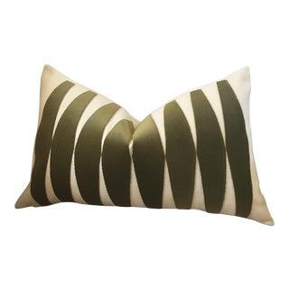 Olive Velvet Applique Pillow Cover